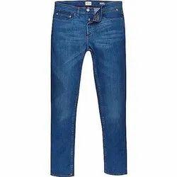 Plain Mens Blue Slim Fit Cotton Jeans