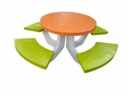 RCP Orange And Yellow Cement Round Table With Bench Set, For Hotel