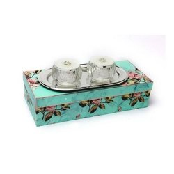 Silver-Plated Tray With Crystal Pearl Bowls