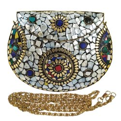 Female RAINBOW NK MOTHER PEARL SHELL MOSAIC METAL CLUCH BAG, Size: 19X4X13