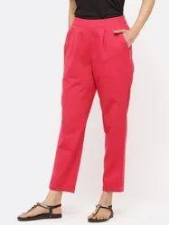 Jaipur Kurti Women Rani Solid Cotton Slub Pants