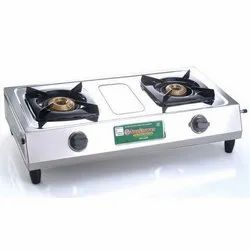 Two Burner Silver Classic Stainless Steel Lpg Stove, Size: 660 X 330 X 100 Mm, Model Name/Number: Deluxe