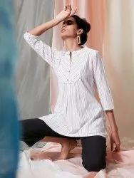 Janasya Women's White Weaved Cotton Top(J0117)