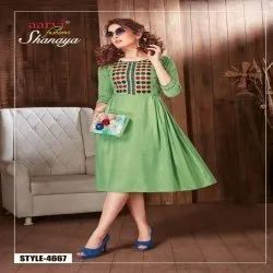 Green Ladies Embroidery One Piece Dress
