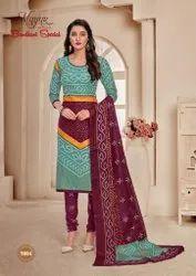 Cotton A-line Mayur Bandhani Readymade, Machine Wash
