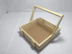 Natural Wooden Hamper Basket, For evant, Size: 12*12 Inches