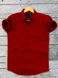 Men Red Cotton Full Sleeves Casual, Party Wear Shirt