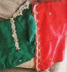 Party Wear 3/4th Sleeve MASLIN KOLKATA KURTI, Size: XL, Wash Care: Handwash