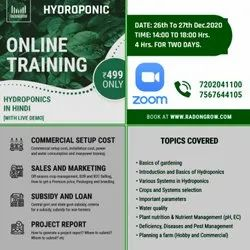 4 Hrs for 2 Days Hydroponic Training ( In Hindi) 26, December and 27, December 2020, Location: Zoom
