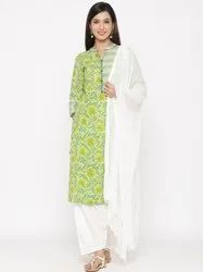 Jaipur Kurti Women Green Floral Motif Straight Cotton Kurta With Salwar & Dupatta