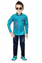 Party Wear Printed Kids Cotton Shirts and Denim Set-KKD001-(3-10 Years), Dry clean