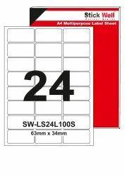 A4 LABEL SHEET LS24L ( 63mm X 34mm ) STICKWELL