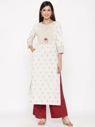 Casual wear Jaipur Kurti Women Off White Gold Print Straight Cotton Blend Kurta