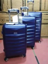 Blue Polycarbonate Trolley Suitcase, Number Of Wheel: 4, Size: 20+24+28