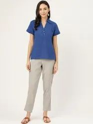 Jaipur Kurti Women Blue Solid Straight Cotton Blend Top With Pants