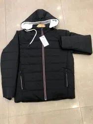 Full Sleeve Casual Jackets Men Black Polyester Jacket
