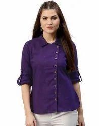 Jaipur Kurti Women Purple Solid Straight Cotton Slub Shirt