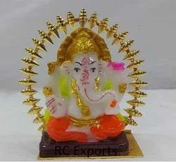 Multicolor Jaipur Golden Poly Resin Little Cute Ganesha (Sankranti Collection), For Worship, Indoor