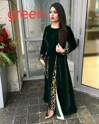 Party Wear Straight Indian Ethnic Designer Velvet Green Kurti With Pant Set, Wash Care: Handwash