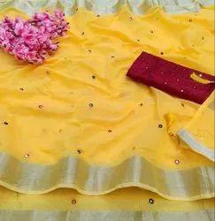 Party Wear Linen Saree With Mirror Pallu N Full Mirror Work