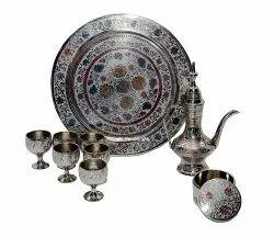 Brass Craft Aftab Wine Glass Set With Dibbi Wine Set Table Decorative Showpiece