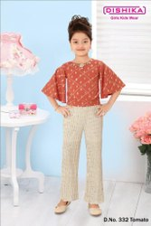 Tomato and Off White Kids Girl Top pant set