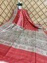 Bhagalpuri Printed Silk Red Saree, 6.5 M (with Blouse Piece)