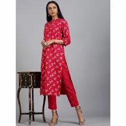 Janasya Women's Pink Cotton Flex Kurta With Pant (SET223)