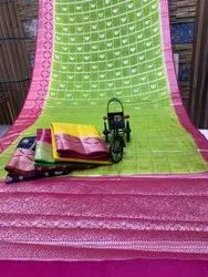 Printed Casual Wear Pure Cotton Saree, With Blouse, 6 m