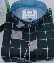 Spitzer Collar Neck Men's Cotton Check Shirt, Machine wash