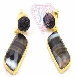 Black Agate and Black Druzy  Gemstone Stud Earring