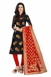 Textile Banarasi Silk Ladies Designer Suit