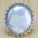925 Solid Silver Ring Natural Pearl Gemstone