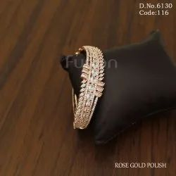 American Diamond Rose Gold Openable Bracelet