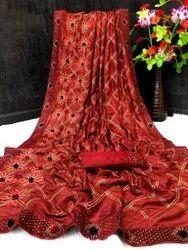 EXA Party Wear Katan Silk Sarees, 5.5 m (separate blouse piece)