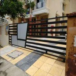 Sliding Black Exterior Entrance Gate, For Residential