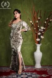 Embroidered Western Wear Full Sequence One Shoulder Dress