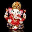 Resin Handicrafts Mukut Ganesha Statue Handmade Enamel Work  Religious God Idol Decor Showpiece