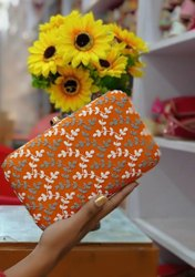 Ashley Party Orange  Leather Clutch
