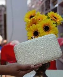 White Embroidery Party Wear Clutch