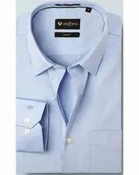 Blue Regular Fit Cotton Formal Shirts, Size: Medium
