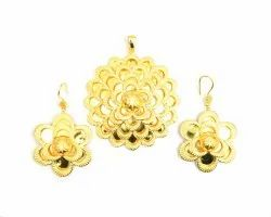 Brass Gold Plated Pendant with Earnings