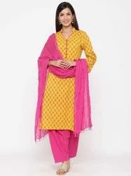 Jaipur Kurti Women Yellow Ethnic Motif Straight Cotton Kurta With Salwar and Dupatta