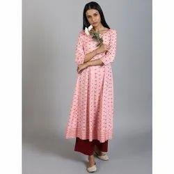 Janasya Women's Pink Rayon Slub Kurta(JNE3572)