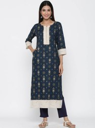 Jaipur Kurti Women Navy Blue Ethnic Motif Straight Viscose Rayon Kurta