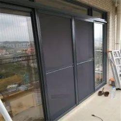 Aluminum (Frame) Black SM-003 Sliding Mesh Doors, Exterior