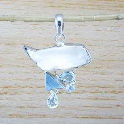 Sterling Silver 925 Jewelry Blue Topaz Multi Gemstone Pendant