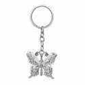 Vivid Gem Studded Butterfly Silver Keychain