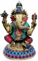 Brass Mukut Ganesha Statue Religious Stone Work Indian Hindu God Idol Figurine