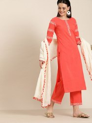 Jaipur Kurti Peach Embroidered Straight Kurta With Palazzo & Dupatta